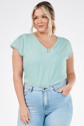 blusa feminina verde claro decote v com renda stefania principessa