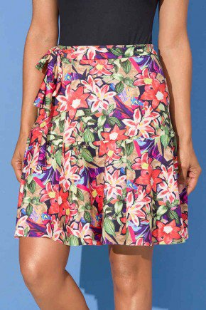 saia shorts estampa flores peplum 9