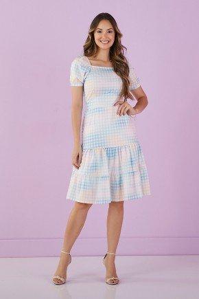 vestido azul estampado decote quadrado 1