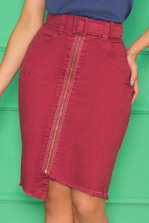 saia bordo justa com cinto nitido jeans