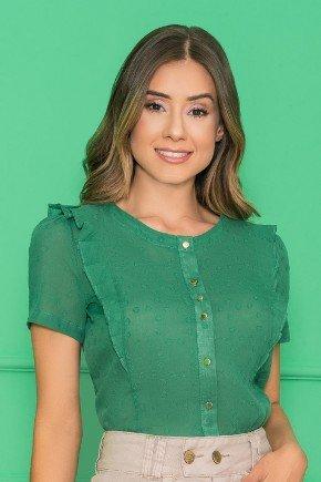 camisa com babados verde nitido jeans 6