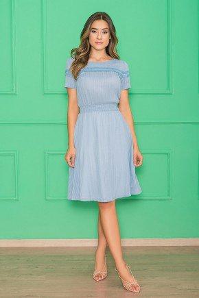 vestido azul evase mangas curtas 1