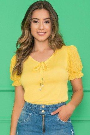 t shirt basica com manga em renda amarelo