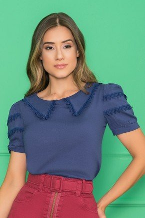 blusa azul marinho gola bordado guipir 3