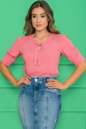 blusa social meia manga rosa
