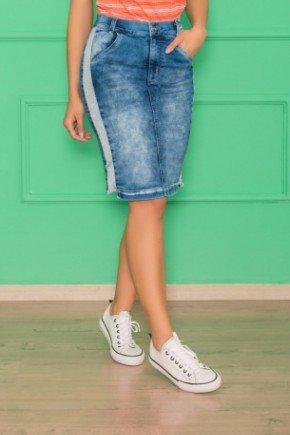 saia jeans recorte lateral do avesso