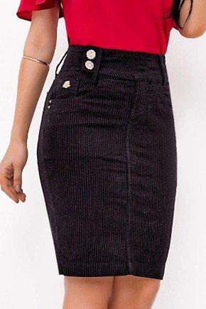 saia jeans preta risca de giz laura rosa baixo