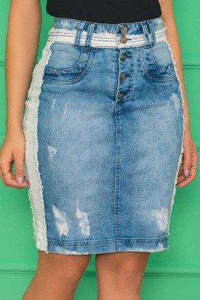 saia jeans com detalhes destroyed azul nitido jeans 7