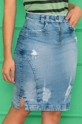 saia jeans destroyed com fenda lateral azul nitido jeans 9