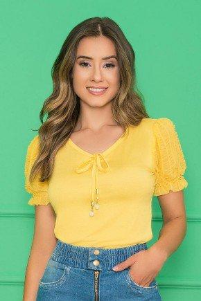 t shirt com mangas em renda amarelo nitido jeans 1