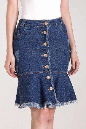 saia sino jeans barra desfiada botoes frontais laura rosa bixo