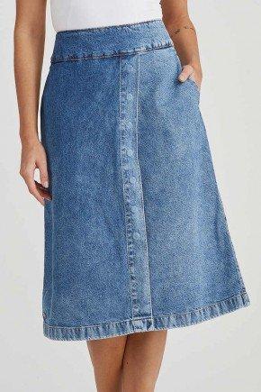 saia jeans evase midi 1