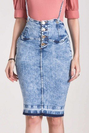 saia jeans justa com alca laura rosa baixo