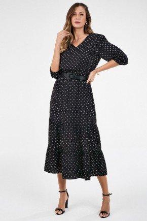 vestido midi preto com babados rosilene