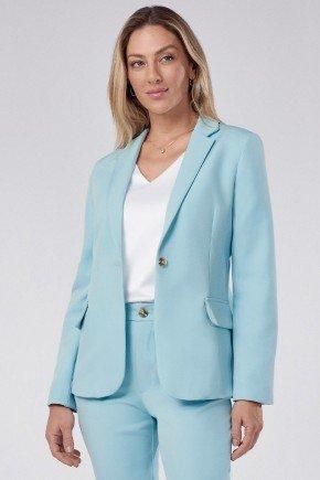 blazer feminino de alfaiataria azul tiara