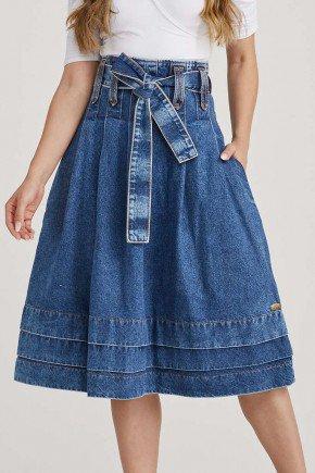 saia jeans evase midi cintura alta 2