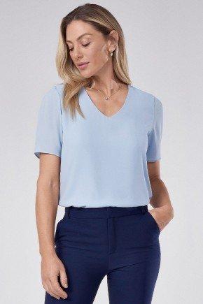 blusa de crepe azul decote v ticiane principessa