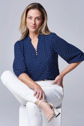 blusa manga estampa gravataria marinho talita principessa