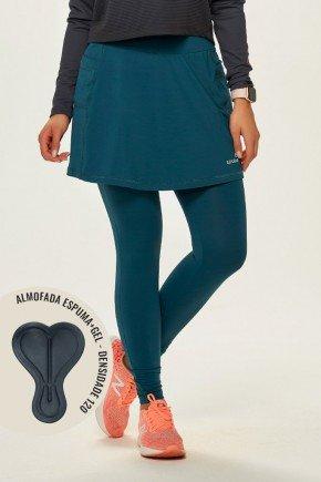 saia calca comprida ciclista com almofada feminina alta compressao azul petroleo epulari frente2