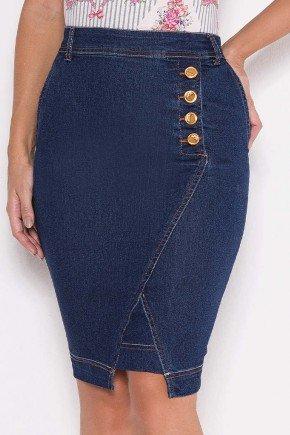saia jeans lapis recorte diagonal laura rosa baixo
