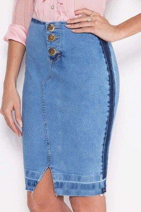 saia jeans lapis barra desfeita laura rosa baixo
