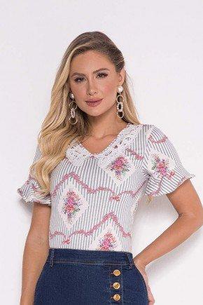blusa estampada em malha detalhe de renda laura rosa