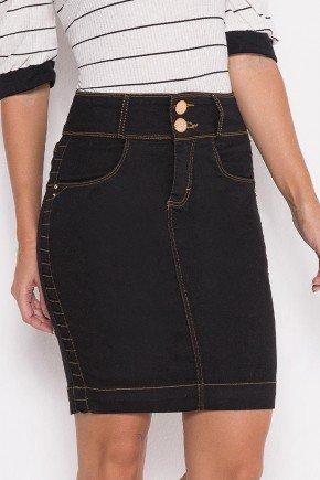 saia jeans preta detalhes laterais laura rosa baixo