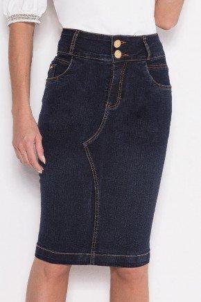 saia jeans escuro recorte frontal laura rosa baixo