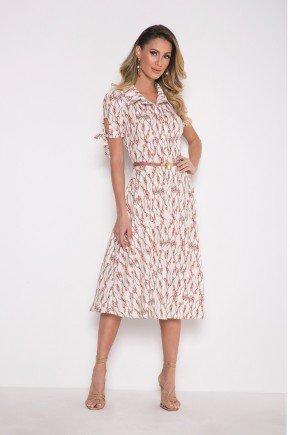 vestido evase estampado em crepe laura rosa