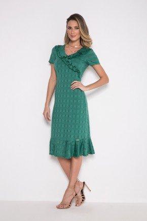 vestido verde em lesie com babados laura rosa