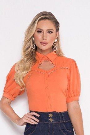 blusa laranja detalhe gola diferenciada laura rosa cima