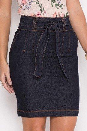 saia jeans marinho reta cintura alta 10