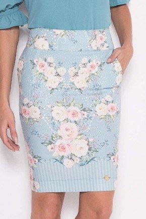 saia azul claro estampada com bolsos laura rosa baixo