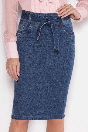 saia jeans sustentavel com faixa laura rosa baixo
