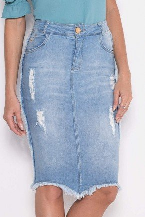 saia jeans destroyed barrado assimetrico laura rosa baixo