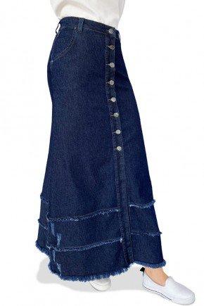 saia jeans longa evase botoes frontais babados desfiados dyork jeans 5