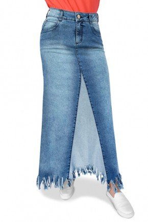 saia jeans longa evase detalhe avesso dyork jeans 3