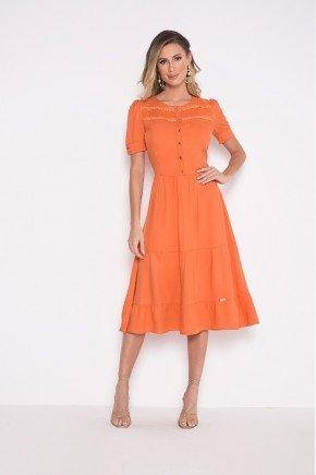 vestido gode laranja detalhe guippir laura rosa