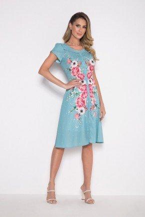 vestido evase azul claro com florais e botoes laura rosa