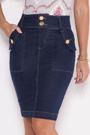 saia azul escuro jeans sustentavel com bolsos laura rosa baixo