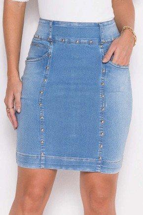 saia jeans reta com tachinhas laura rosa 8