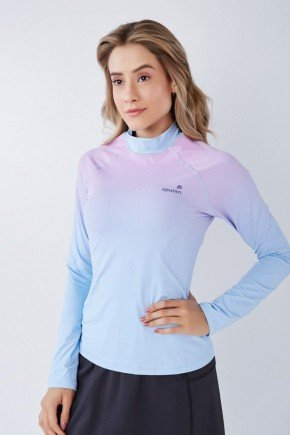 blusa manga longa azul claro estampa exclusiva poliamida