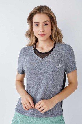 blusa manga curta feminina mescla poliamida prot