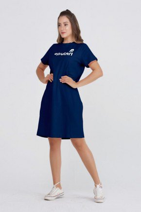 vestido camiseta azul algodao estampa logo epulari7