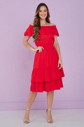vestido evase com babados vermelho tata martello 1