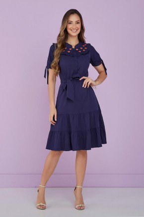 vestido azul marinho detalhe bordado bruna tata martello 1