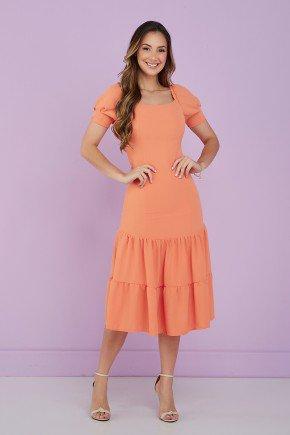 vestido laranja decote quadrado 1