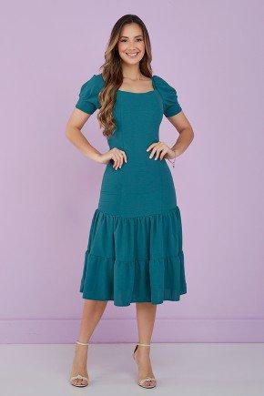 vestido verde petroleo decote quadrado 2