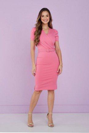 vestido tubinho rosa transpassado tata martello