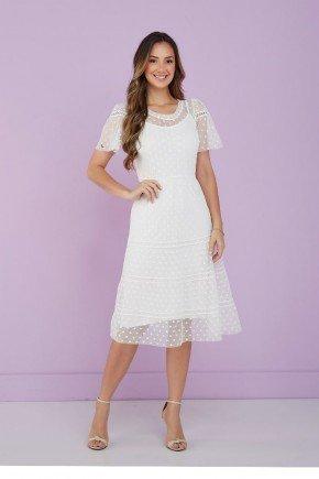 vestido branco em tule de poas tata martello